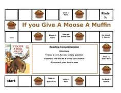 This open ended gameboard can be used with the popular book by Laura Numeroff If You Give a Moose a Muffin.