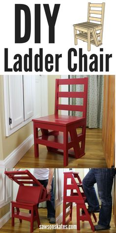DIY Ladder Chair - I'm always looking for ideas for small spaces and this one is genius! This DIY chair flips from being an extra seat to a step stool or ladder. Great for a kitchen to reach those upper cabinets. The best part is the plan is FREE! Woodworking Furniture, Diy Woodworking, Furniture Plans, Popular Woodworking, Folding Furniture, Murphy Furniture, Furniture Design, Woodworking Patterns, Plywood Furniture