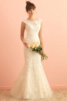 Allure Bridal available at Diane& A Bridal Boutique. A Fort Worth bridal shop. Beige Wedding Dress, 2016 Wedding Dresses, Lace Mermaid Wedding Dress, Wedding Dress Styles, Bridal Lace, Designer Wedding Dresses, Bridal Dresses, Wedding Gowns, Bridesmaid Dresses
