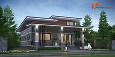 Modern Bungalow House Design, Thai House, Architectural House Plans, Small Modern Home, Small House Plans, Mansions, Architecture, House Styles, Outdoor Decor