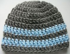 Hand Crocheted - Baby Boy - Grey and Baby Blue Striped Hat- Available In Sizes: Newborn-0/3mo-3/6mo-6/12mo - Photo Prop