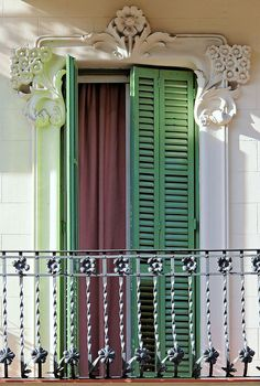 New Orleans French Quarter Shutters  iron work.  Beautiufl plaster detail.