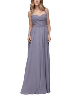 DescriptionWtoo by Watters Style103Full length bridesmaid dressSweetheart halter necklineRouched bodiceChiffon