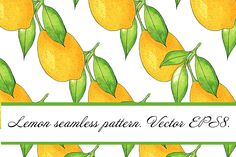 Watercolor lemon seamless pattern. by mcherevan on Creative Market