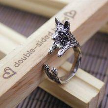 Envío gratis venta al por mayor Burnished Retro pastor alemán anillo hechos a mano anillo animal moda anillo perro jewelry-20PCS / lot(China (Mainland))