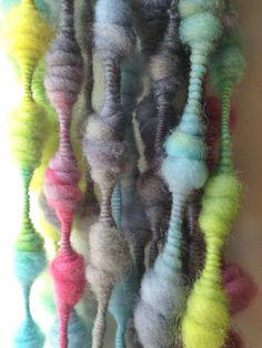 Hand Dyed Handspun Super Coiled Art Yarn 15 yards by FluffduJour, $23.00