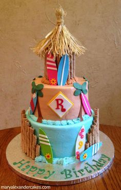 Luau, tiki hut, surfs up theme cake! From Mary Alexander Cakes in Dallas Texas… Hawaiian Theme Cakes, Luau Cakes, Beach Themed Cakes, Beach Cakes, Surf Cake, Luau Birthday, Birthday Cake, Luau Party, Beach Party
