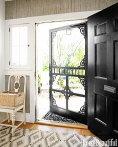 Modern Farmhouse Design Ideas - Modern Farmhouse Decorating - House Beautiful that is a great screen door that wouldn't ruin the front of the house.but the dogs & kids will ruin the screen door :-( Modern Farmhouse Design, Farmhouse Decor, Farmhouse Style, Farmhouse Front Doors, Victorian Farmhouse, Modern Victorian, Cottage Style, Style At Home, Diy Screen Door