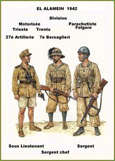"""Regio Esercito - El Alamein 1942 - Sottotenente del 27°Rgmt. Artiglieria ,Divisione Mot. """"Trieste"""" - Sergente maggiore del 7° Rgmt. Bersaglieri, Divisione Mot. """"Trento"""" - Sergente della Divisione Paracadutisti """"Folgore"""""""