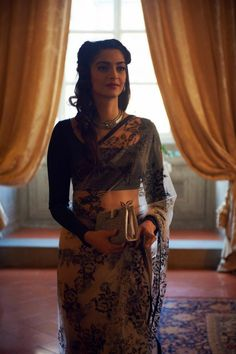 sari with work in front, regal blouse