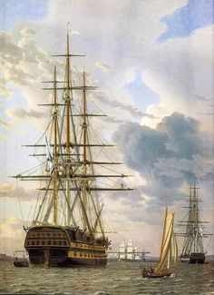 "Christoffer Wilhelm Eckersberg, The Russian battleship Azov and a frigate moored at Elsinore"", oil on canvas, 63 x 51 cm. Statens Museum for Kunst. Photo: SMK - The National Gallery of Denmark. Old Sailing Ships, National Gallery, Ship Of The Line, Ship Paintings, Naval, Wooden Ship, Brest, Nautical Art, Nautical Marine"