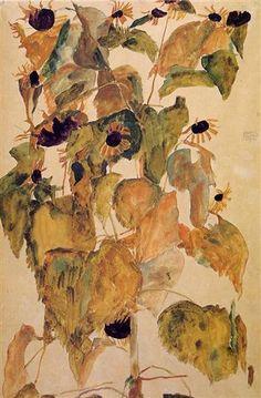 Sunflowers - Egon Schiele. Watercolor, 1911
