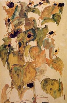 Sunflowers - Egon Schiele. Watercolor, 1911