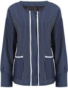 Blue Long Sleeve Vertical Stripe Loose Coat US$32.79