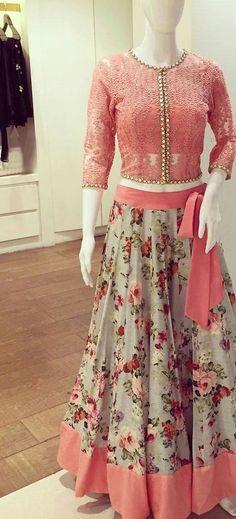 FatimaBi Floral Traditional Fashion Lehanga Choli Pink Engagement Party Dress  #FatimaBi #LehegaCholi
