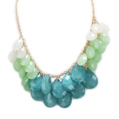 Carole Juniors Faceted Teardrop Bib Necklace #VonMaur #GoldandTurquoise