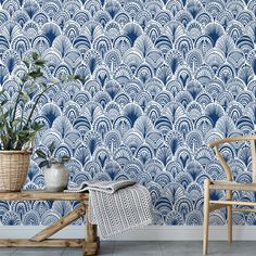 Blue bohemian scallops removable wallpaper / boho self adhesive wallpaper / tribal scallops temporary wallpaper - Tapete Self Adhesive Wallpaper, Peel And Stick Wallpaper, Temporary Wallpaper, Tribal Wallpaper, Tall Ceilings, High Walls, Outlet Covers, Ceiling Height, Scallops