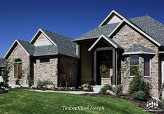 Another beautiful custom home featuring our Chief Joseph (Color: Timber) that looks amazing! Chief Joseph, Exterior Design, Custom Homes, Master Bathroom, Cabin, House Design, Mansions, Stone, House Styles