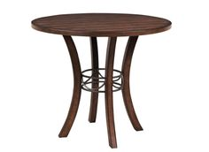 Hillsdale Furniture Cameron Chestnut Brown Wood Metal Right Counter-height Table (Cameron Wood Counter Height Table in Brown) Round Wood Table, Round Table Top, Solid Wood Dining Table, Dining Table In Kitchen, Dining Tables, Dining Room, Round Top, Kitchen Nook, Kitchen Redo