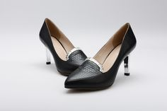 FGN Brand Office Lady Pointed Toe Honeycomb Vamp Slip On Pump Shoes F58X601K - Black