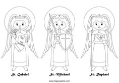 Happy Saints: Archangels Catholic Coloring Page.  Feast day of the archangels St. Michael, St. Gabriel, and St. Raphael is September 29th