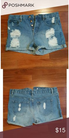 """Cute Forever 21 Shorts Stylish, trendy cuffed distressed denim shorts  Gently worn High-waisted 2-1/2"""" inseam Forever 21 Shorts Jean Shorts"""
