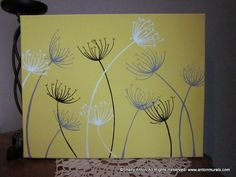 Dandelion Painting Custom Artwork Gray and Yellow by AntonMurals...... I want something like this for the walls in the living room