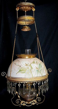 B Hanging Parlor Oil Lamp - Gorgeous Calla Lily Painted Shade