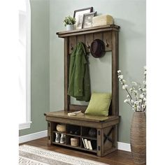 Altra Furniture Wildwood Wood Veneer Entryway Hall Tree with Storage Bench - Walmart.com
