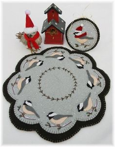 Cheerful Chickadees - Wool Applique Candle Mat