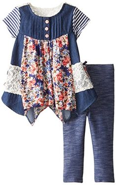 Bonnie Baby Baby Girls Chambray Mix Print Legging Set Blue 12 Months >>> Read more reviews of the product by visiting the link on the image.