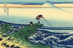 """Katsushika Hokusai """"'A Fisherman Standing on a Rocky Promontory at ..."""