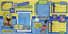 Spongebob 2 Premade Scrapbook Pages 12x12 by Cherry Boy Girl Scrapbooking | eBay
