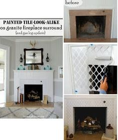Stenciled Granite Fireplace Surround Update Granite Fireplace Fireplace Surrounds Freestanding Fireplace