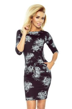 d821da9cd Numoco - Dámske čierne športové šaty s bielymi kvetmi 186-1 (3) Produkty