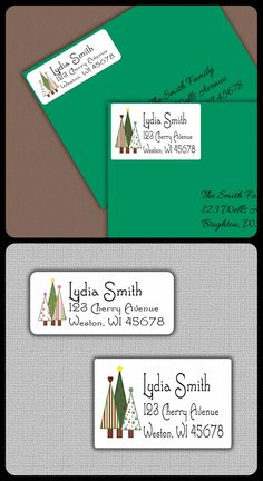 $5.25 1 sheet of Personalized Labels/large or small rectangle/Christmas Address Labels, Personalized Return Address Label Stickers, Return Address, Christmas Label Gift Tag, Christmas Tree Gift Tags
