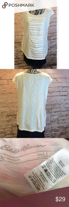 SZ LG EDDIE BAUER CREAM TOP Super cute top in cream that's super soft and lightweight. Gently used condition. Eddie Bauer Tops Blouses