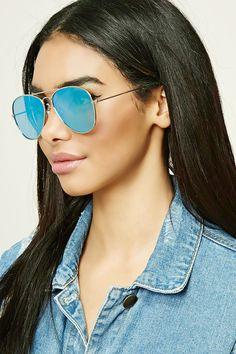 A pair of high-polish aviator sunglasses featuring mirrored lenses.