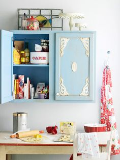 Easy Molding Update  For a kitchen with a vintage vibe, glue gingerbread appliques (available at home centers) on door panels. These affordable wood pieces come in many styles and are easy to adhere to cabinet doors using wood glue. Kick up the vintage look by applying a thin coat of burnt umber glaze to the doors and gingerbread. Wipe off while wet to get desired effect.