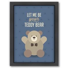 Americanflat Patricia Pino ''Teddy Bear'' Framed Wall Art ($66) ❤ liked on Polyvore featuring home, home decor, wall art, multicolor, framed wall art, colorful wall art, vertical wall art and colorful home decor