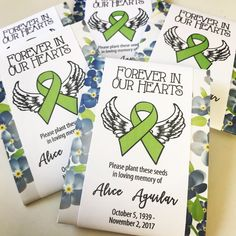 Losing a loved one to cancer and other diseases is never easy. Remember those who have lost their battle with these personalized memorial forever in our hearts seed packets. Perfect for funerals, memorial services and life celebrations. Diy Projects Arts And Crafts, Memorial Services, How To Use Cricut, Losing A Loved One, Prayer Cards, Cherished Memories, Seed Packets, Awareness Ribbons, In Loving Memory