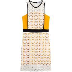 MSGM Dress (15.705 UYU) ❤ liked on Polyvore featuring dresses, vestido, orange, msgm dress, orange white dress, white dress, msgm and orange dress