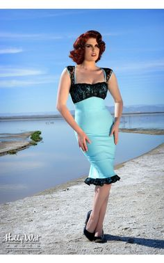 Micheline Dress in Tiffany Blue with Black Lace