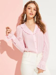 Romantic Pink Ruffle Trim V Neck Solid Buttoned Blouse Flounce Sleeve Elegant Sweet Tops and Blouses Pastel Fashion, Casual Outfits, Fashion Outfits, Spring Shirts, Ruffle Trim, Types Of Sleeves, Blouse Designs, Fashion News, Ideias Fashion