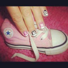 baby pink and black converse nails