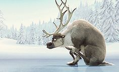 Poor Sven struggles on ice. He needs to get some new horseshoes. :p (Reindeershoes??)