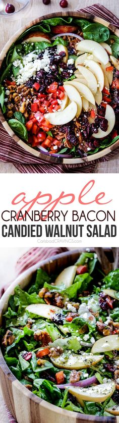 Apple Cranberry Bacon Candied Walnut Salad with Apple Poppy Seed Dressing.