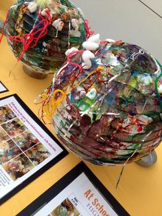 Paint white paper lanterns and embellish with recycled materials.