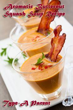 Butternut Squash Soup Recipe Crockpot Recipes, Soup Recipes, Dinner Recipes, Healthy Recipes, Tapas, Spicy Soup, Lard, Butternut Squash Soup, Soup And Sandwich