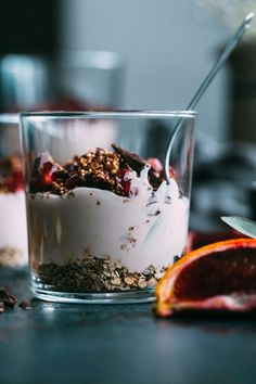 These Blood Orange Parfaits are made with cashew cream and chocolate quinoa brittle, making them a surprisingly healthy dessert! Vegan Sweets, Healthy Desserts, Delicious Desserts, Yummy Food, Vegan Food, Vegan Breakfast Recipes, Brunch Recipes, Dessert Recipes, Vegan Recipes